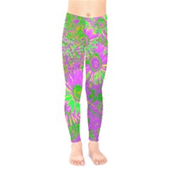 Amazing Neon Flowers A Kids  Legging