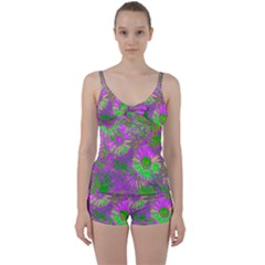 Amazing Neon Flowers A Tie Front Two Piece Tankini