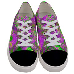 Amazing Neon Flowers A Women s Low Top Canvas Sneakers