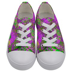Amazing Neon Flowers A Kids  Low Top Canvas Sneakers