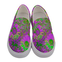 Amazing Neon Flowers A Women s Canvas Slip Ons