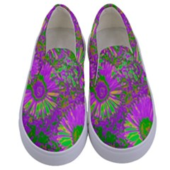 Amazing Neon Flowers A Kids  Canvas Slip Ons