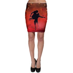 Dancing Couple On Red Background With Flowers And Hearts Bodycon Skirt