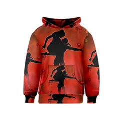 Dancing Couple On Red Background With Flowers And Hearts Kids  Pullover Hoodie