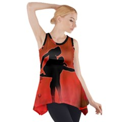 Dancing Couple On Red Background With Flowers And Hearts Side Drop Tank Tunic
