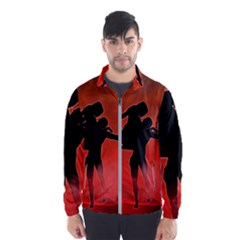 Dancing Couple On Red Background With Flowers And Hearts Wind Breaker (men)