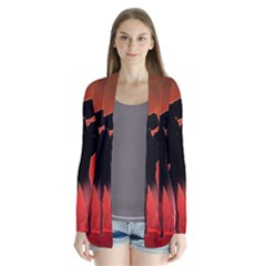 Dancing Couple On Red Background With Flowers And Hearts Drape Collar Cardigan