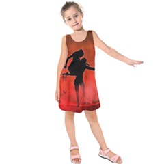 Dancing Couple On Red Background With Flowers And Hearts Kids  Sleeveless Dress