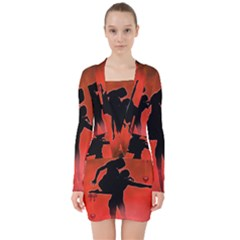 Dancing Couple On Red Background With Flowers And Hearts V Neck Bodycon Long Sleeve Dress