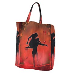 Dancing Couple On Red Background With Flowers And Hearts Giant Grocery Zipper Tote