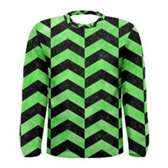 Chevron2 Black Marble & Green Watercolor Men s Long Sleeve Tee