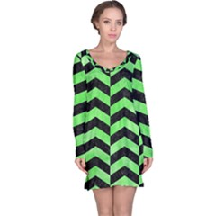 Chevron2 Black Marble & Green Watercolor Long Sleeve Nightdress