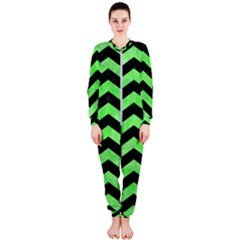 Chevron2 Black Marble & Green Watercolor Onepiece Jumpsuit (ladies)