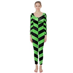 Chevron2 Black Marble & Green Watercolor Long Sleeve Catsuit