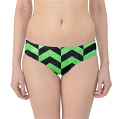 Chevron2 Black Marble & Green Watercolor Hipster Bikini Bottoms