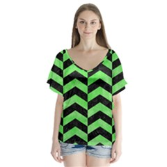 Chevron2 Black Marble & Green Watercolor V Neck Flutter Sleeve Top