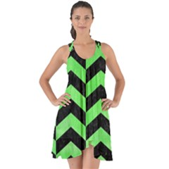 Chevron2 Black Marble & Green Watercolor Show Some Back Chiffon Dress