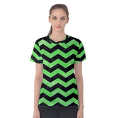 Chevron3 Black Marble & Green Watercolor Women s Cotton Tee