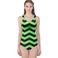 Chevron3 Black Marble & Green Watercolor One Piece Swimsuit