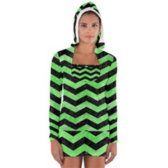 Chevron3 Black Marble & Green Watercolor Long Sleeve Hooded T Shirt