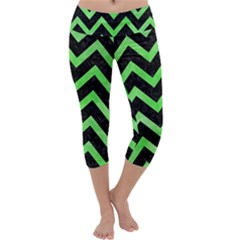 Chevron9 Black Marble & Green Watercolor Capri Yoga Leggings