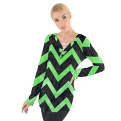 Chevron9 Black Marble & Green Watercolor Tie Up Tee