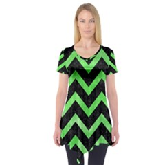 Chevron9 Black Marble & Green Watercolor Short Sleeve Tunic