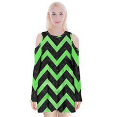 Chevron9 Black Marble & Green Watercolor Velvet Long Sleeve Shoulder Cutout Dress