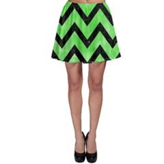Chevron9 Black Marble & Green Watercolor (r) Skater Skirt
