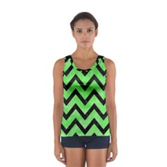 Chevron9 Black Marble & Green Watercolor (r) Sport Tank Top