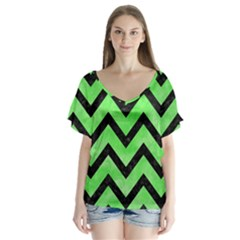 Chevron9 Black Marble & Green Watercolor (r) V Neck Flutter Sleeve Top