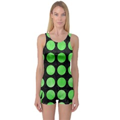Circles1 Black Marble & Green Watercolor One Piece Boyleg Swimsuit