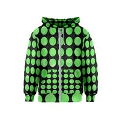 Circles1 Black Marble & Green Watercolor Kids  Zipper Hoodie