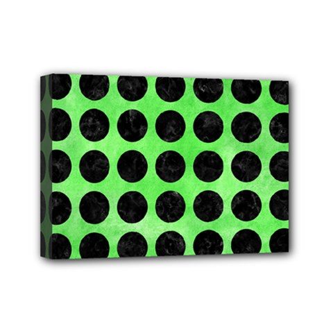 Circles1 Black Marble & Green Watercolor (r) Mini Canvas 7  X 5