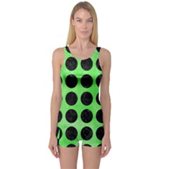 Circles1 Black Marble & Green Watercolor (r) One Piece Boyleg Swimsuit
