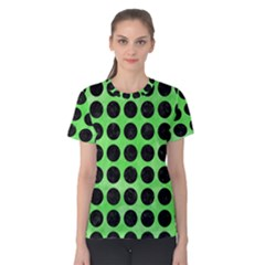 Circles1 Black Marble & Green Watercolor (r) Women s Cotton Tee