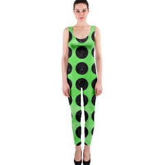 Circles1 Black Marble & Green Watercolor (r) Onepiece Catsuit