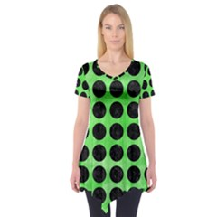 Circles1 Black Marble & Green Watercolor (r) Short Sleeve Tunic