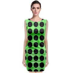 Circles1 Black Marble & Green Watercolor (r) Classic Sleeveless Midi Dress