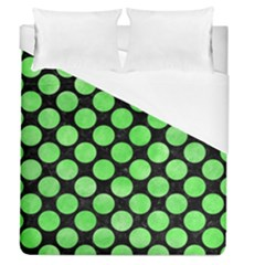 Circles2 Black Marble & Green Watercolor Duvet Cover (queen Size)