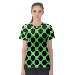 Circles2 Black Marble & Green Watercolor (r) Women s Sport Mesh Tee