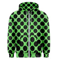 Circles2 Black Marble & Green Watercolor (r) Men s Zipper Hoodie