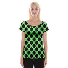 Circles2 Black Marble & Green Watercolor (r) Cap Sleeve Tops