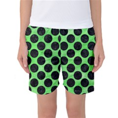 Circles2 Black Marble & Green Watercolor (r) Women s Basketball Shorts