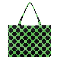 Circles2 Black Marble & Green Watercolor (r) Medium Tote Bag