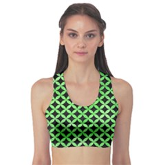 Circles3 Black Marble & Green Watercolor Sports Bra