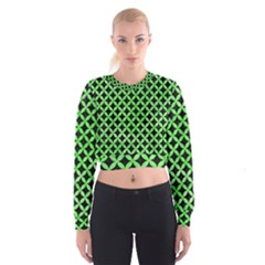 Circles3 Black Marble & Green Watercolor Cropped Sweatshirt