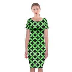 Circles3 Black Marble & Green Watercolor Classic Short Sleeve Midi Dress