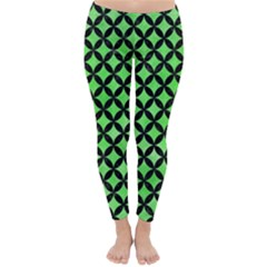 Circles3 Black Marble & Green Watercolor (r) Classic Winter Leggings