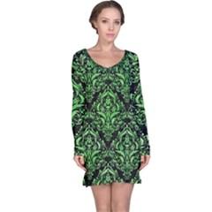Damask1 Black Marble & Green Watercolor Long Sleeve Nightdress